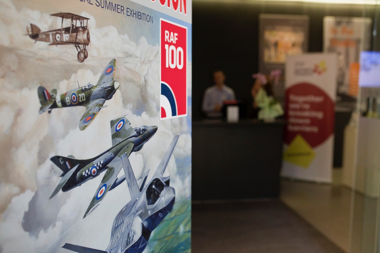 RAF100 art exhibition banner Leonard Cheshire banner Mall Galleries