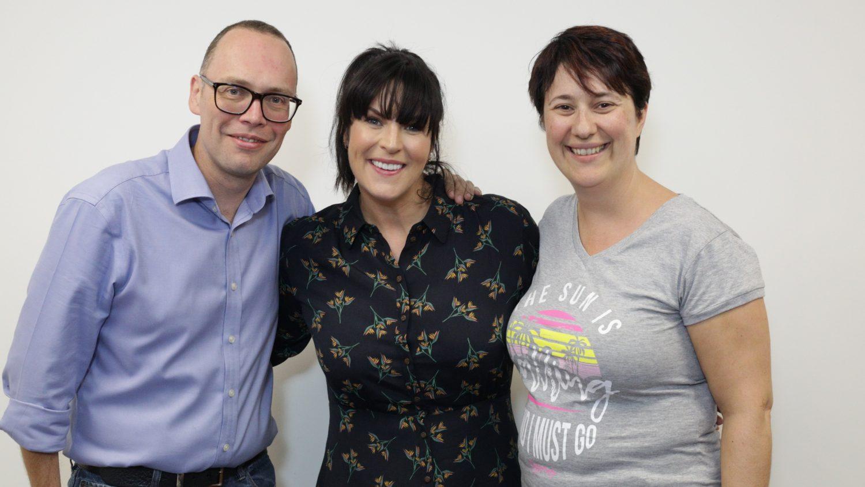 Steve Austins and Marina Lois pose with Anna Richardson
