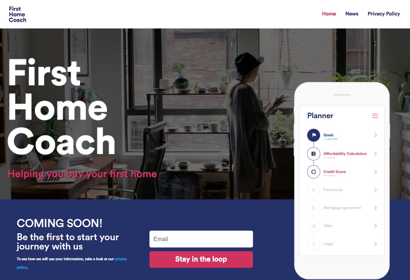 Website screen of FirstHomeCoach, a platform to help home buyers get on the ladder.